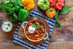 Mushroom tomato chicken goulash