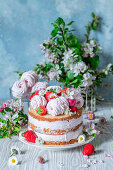Russian type marshmallow - zefir cake with strawberries