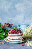 Berry cake with quark mousse