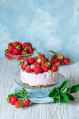 Strawberry no bake cheesecake with granola base