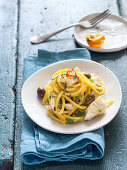 Saffron Bucatini with cod and olives