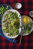 Broad bean, quinoa and pickled lemon-skin salad