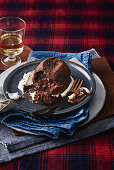 Molten chocolate cakes with sour cream