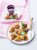 Marinated tomato bruschetta hearts