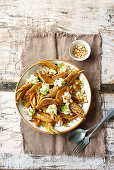 Sherry and orange caramelised fennel with goat's curd