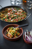 Classic paella with chicken and rabbit