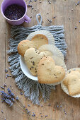 Heart-shaped, gluten-free lavender shortbread biscuits