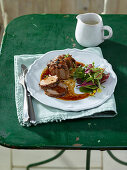 Pork fillet with an apple juice and pepper sauce