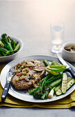 Steak Sizzler with green vegetable