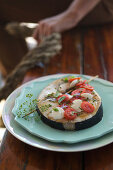 Grilled swordfish with tomatoes and mozzarella