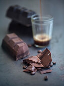 Blocks of chocolate and coffee beans