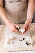 Mushrooms being cleaned