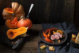 Preserved, caramelised pumpkin with beef