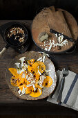 Pumpkin and mushroom carpaccio