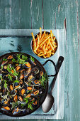 Moules marinieres with French fries