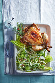 Lemon and honey roasted chicken with Waldorf salad