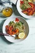 Quinoa tabbouleh with honeyed-harissa chicken