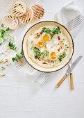 Smoked paprika and cumin-marinated eggs on yoghurt