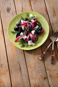 Roasted beetroot, pickled red onion and goat's cheese salad