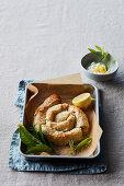 Cheesy leek filo spiral with minted yoghurt