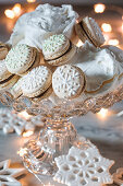 Macaroons with chocolate cream for Christmas