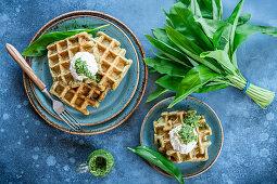 Wild garlic waffles with cream cheese