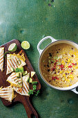 Mexican bean soup with quesadilla toasties