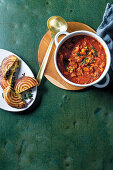 Beefy bean soup with spinach jaffles
