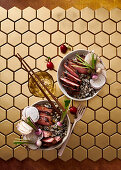 Smoky honey-glazed duck breast with sesame rice and tangy turnips