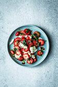 Strawberry caprese salad with mozzarella