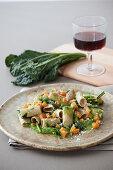 Rigatoni with a Tuscan kale sauce, Tuscan kale and sweet potatoes