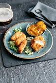 Fontina croquettes with persimmon compote