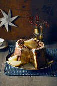 Panettone semi-freddo with cognac pears and almond caramel