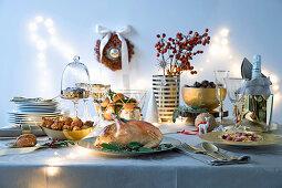 Italian Christmas buffet with a Christmas roast