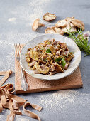 Spelt pappardelle with chestnuts, mushrooms and rosemary