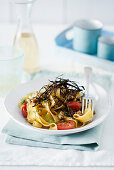 Pappardelle with chicken ragout, aubergines, olives and crispy aubergine skins