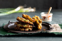 Chinese cabbage and onion fritters with spicy mayonnaise