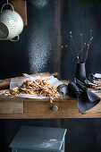 Fresh, homemade pasta on a rustic wooden table