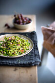 Chickpea pasta with Tuscan kale pesto and rhubarb
