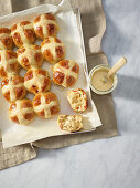 Hot cross buns with dried fruits