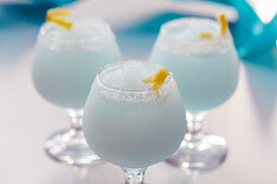 Blue Wind cocktail with vodka, blue curacao and ice frosty