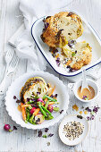 Miso-roasted whole cauliflower with veg salad
