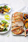 Fennel and orange salt roast pork rack with beetroot and orange salad