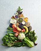A pyramid of vegan foods