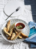 Fried avocado with chilli dipping sauce