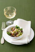 Caponata with cardoons, pine nuts and capers