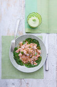Steamed salmon on poached lettuce with basil mayonnaise