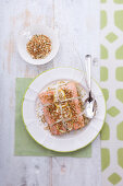 Oven-roasted salmon with herb and almond crumbs