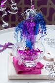 Carnival arrangement in blue, purple and silver