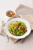 Savoy cabbage medley with garlic, olive oil, chill and anchovy breadcrumbs